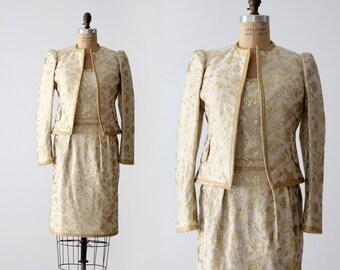vintage Adolfo women's suit, 1980s designer outfit