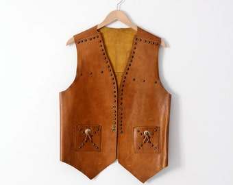 1960s leather biker vest, vintage studded vest