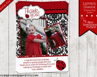 Ladybug Damask - Made to Match Thank You Note
