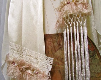 Shabby Lace Scarf, creme silk scarf, romantic scarf, faerie whimsical, fringe scarf, tattered shabby and chic