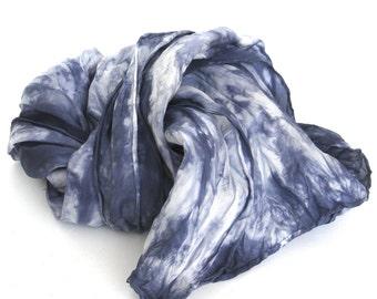 SALE ...   shades of indigo  ...   navy blue hand dyed silk scarf   ...   midnight sky