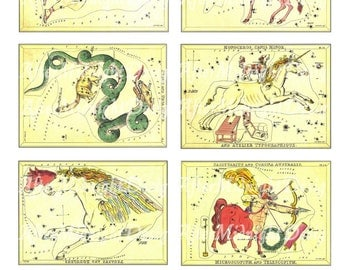 Tags 63 Constellation Vintage Star Cards Tags Gift tags Greeting cards Art Journal