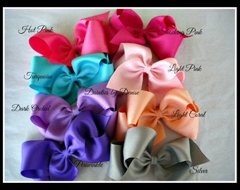 """6  Extra Large Grosgrain  Boutique Bows ,approx. 6"""" wide - You pick the colors Great for Back to School"""
