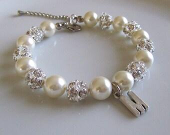 Pearl bracelet with rhinestones - Bridal bracelet - Bridesmaid bracelet