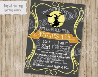 Halloween Party Invitation, Witch Halloween Invitation, Witches Tea, Halloween Birthday,  Seasonal, Halloween Card- Custom Printable