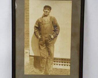 Vintage Framed Photograph Smiling Worker 18 x 13