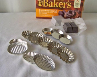 Vintage Candy Moulds Chocolate Molds Miniature French Tin Moulds Mini Baking Pans Tart Pans 1960s