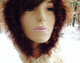 Hooded Scarf/Hat with Fur, Cream with Brown Fur