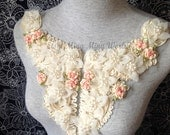 Cotton and Chiffon and Pearl Applique Lace Trim - 1  PCS Beige Flower Applique (A165)
