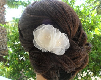 Wedding Hair Accessory, Bridal Hair Comb, Organza Hairpiece, Wedding Hair piece, Bridal Hair Clip, Bridal Hair Flower, Wedding Fascinator