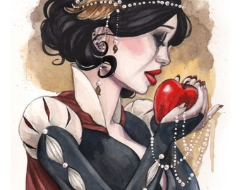 Snow White and the Red Apple fairytale watercolor art print Carla Wyzgala Carlations