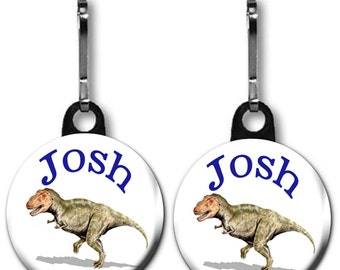 Zipper Pull featuring a One Inch Dinosaur Charm Personalized with the Name of Your Choice