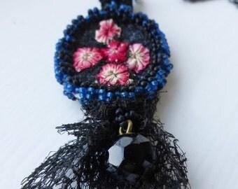 Midnight Rosebuds Textile Pendant