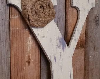 """9.5"""" Rustic Chic Wooden Letter Home Decor Letters Burlap Flower Distressed Primitive Wreath  ABCDEFGHIJKLMNOPQRSTUVWXZ Photo Prop Wedding"""