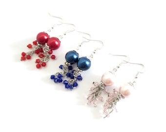 Glass Pearl Drop Earrings - 3 Colors