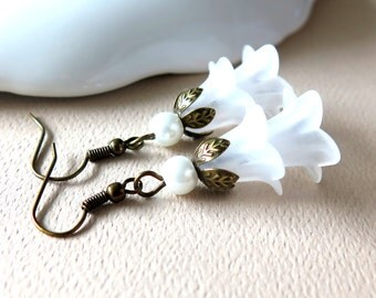 SALE - Frosted White Flower Earrings