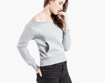 Off the shoulder sweatshirt, womens sweater, off shoulder top, oversize cotton sweater