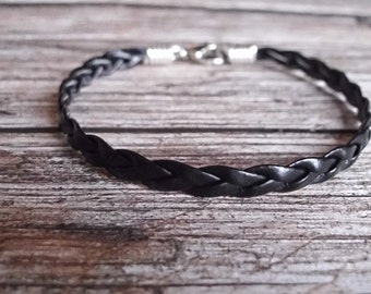 Braided Leather Bracelet Minimalist Mens Leather Boho Bracelet Black Bohemian Braided Leather Bracelet Made in USA