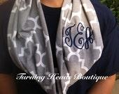 Single Loop Infinity Quatrefoil Monogrammed Scarf Cotten Jersey knit