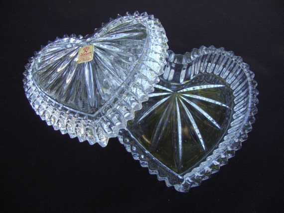 "AGP Antique Cut Leaded Glass 6"" Candy Jewelry Earring Dish ...