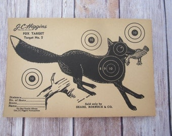 Vintage J.C. Higgins Fox Target No. 5 shooting Paper c. 1940s collectible wall art
