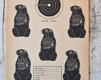 Vintage Winchester Western Groundhog Woodchuck Target shooting Paper c. 1940s collectible wall art