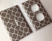 Gray Light Switch Cover / Light Gray White Quatrefoil Single Light Switch Outlet Cover / Grey Nursery Decor / Lattice Decor / Grey Decor