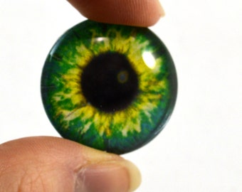 25mm Bright Green Glass Eye for Jewelry Making or Taxidermy Doll Sculptures Eyeball Flatback Circle Cabochon