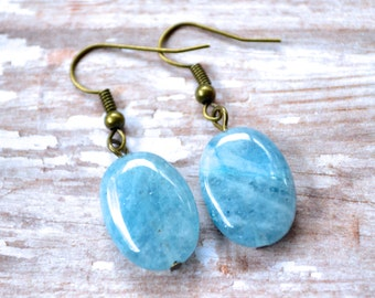 Aquamarine Glass Ovals . Earrings