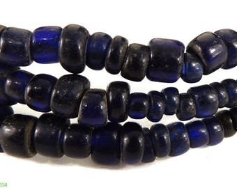 Trade Beads Cobalt Blue Wound Slices African 86716