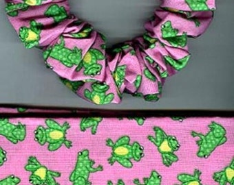 Little Green Frogs on Pink Everyday Scrunchie #3