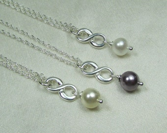 Bridesmaid Jewelry Bridesmaid Gift Set of 3 Dainty Pearl Infinity Necklace Silver Bridesmaid Necklace Winter Wedding Jewelry