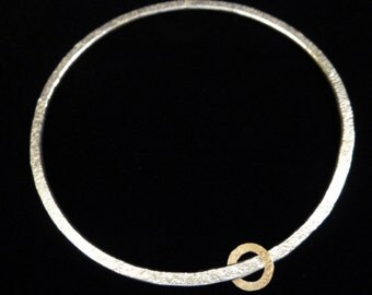 MADE TO ORDER Sterling Silver and 9ct gold circle bangle with unique hammered texture