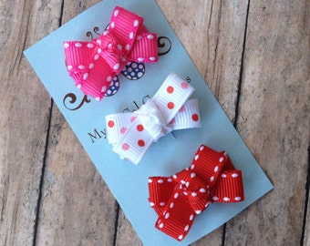 Itty Bitty Bows-Baby Snap Clip Set-Infant Toddler-Fine Hair-Valentines Day