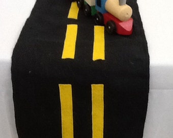 Road Way Table Runner, Car, Auto, Truck, Transportation Theme Party, Table Runner, Dresser Runner