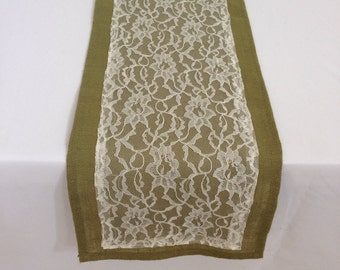 Burlap Table Runner with Lace, Moss Green and Ivory, READY to SHIP,  Wedding, Party, Home Decor, Custom Size Available