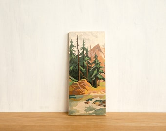 Paint by Number Art Block 'Mountain Evergreens' -  mountain valley, stream, vintage landscape