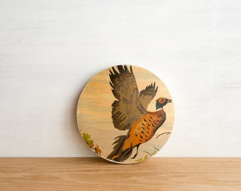 Paint by Number Circle Art Block 'Pheasant Flight' - bird hunting, plumage, fall, vintage art