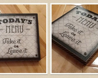 Today's Menu Sign - 6x6 Inches with Black and White Polka Dot Border