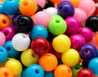 150 MIXED Colors GUMBALL Beads 6mm Bubblegum Resin Round H428