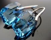 Swarovski Crystal Aquamarine Sterling Silver Earrings