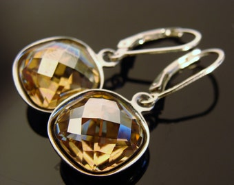 Swarovski Crystal Golden Shadow Sterling Silver Leverback Earrings