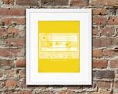 Rewind back in time, cassette tape art print - Mustard yellow and white - 8x10 digital download artwork, illustration, printable art