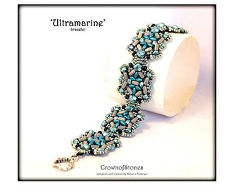 """Bead Pattern Bracelet """"Ultramarine"""" with Superduo and Rulla beads SPECIAL PRICE"""