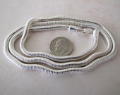 4mm 24 inches Sterling Silver Snake Chain Necklace (flexible) thick chain