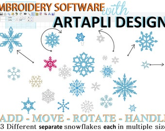 Froze single Snowflakes embroidery designs and Easy Embroidery Software INCLUDED, 23 separate designs and MANY sizes, INSTANT download