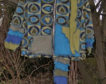child jacket kids sweater heart top boys girls coat vest cap long hoodie hat ooak elf fantasy fleece upcycled