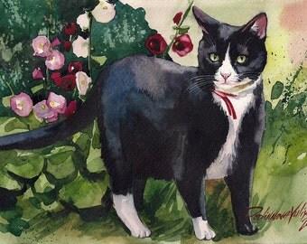 Print of the Original Watercolor Painting Tuxedo Cat Black and White Cat Kitty Kitten Flowers Garden