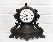 Antique French vintage metal Clock Mantel , shabby chic Home Decor,Victorian Home Decor, French Chateau