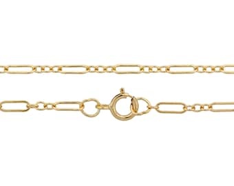 """14Kt Gold Filled 5.5x2mm 16"""" Long and Short Flat  Cable neck Chain with clasp - 1pc 10% Discounted High Quality (5799)/1"""
